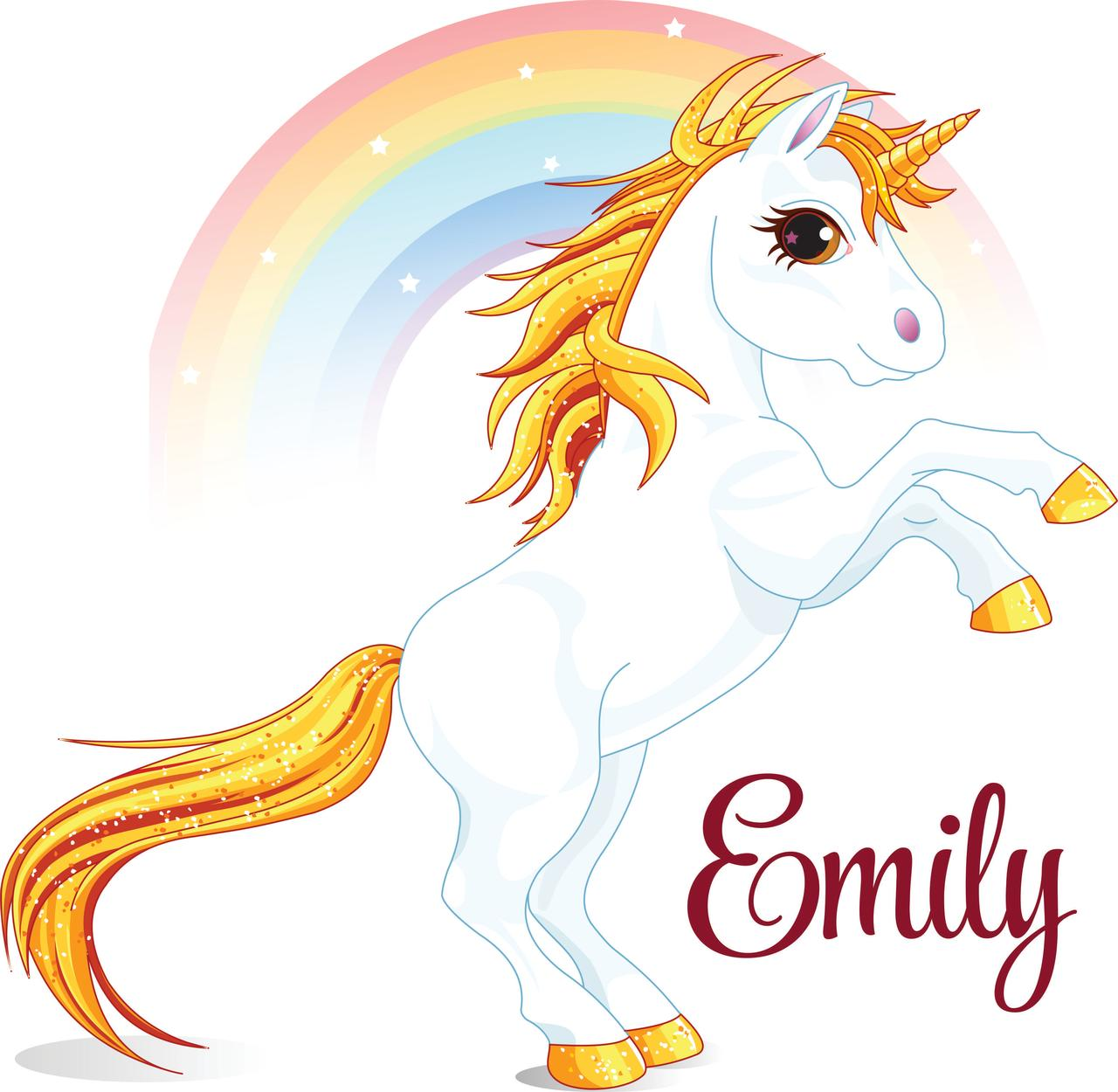 Personalized Name Vinyl Decal Sticker Custom Initial Wall Art Personalization Decor Girls Unicorn Colorful Rainbow Magical Fairytale 10 Inches X 10 Inches