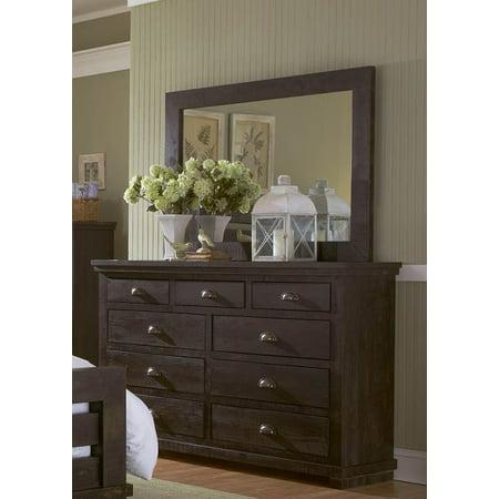 dresser and mirror set in distressed black. Black Bedroom Furniture Sets. Home Design Ideas