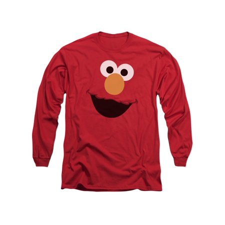 Sesame Street Classic TV Show Elmo Face Outline Adult Long Sleeve T-Shirt