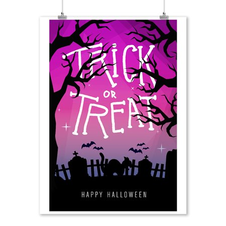 Happy Halloween - Trick or Treat - Graveyard Cat - Lantern Press Artwork (9x12 Art Print, Wall Decor Travel Poster)