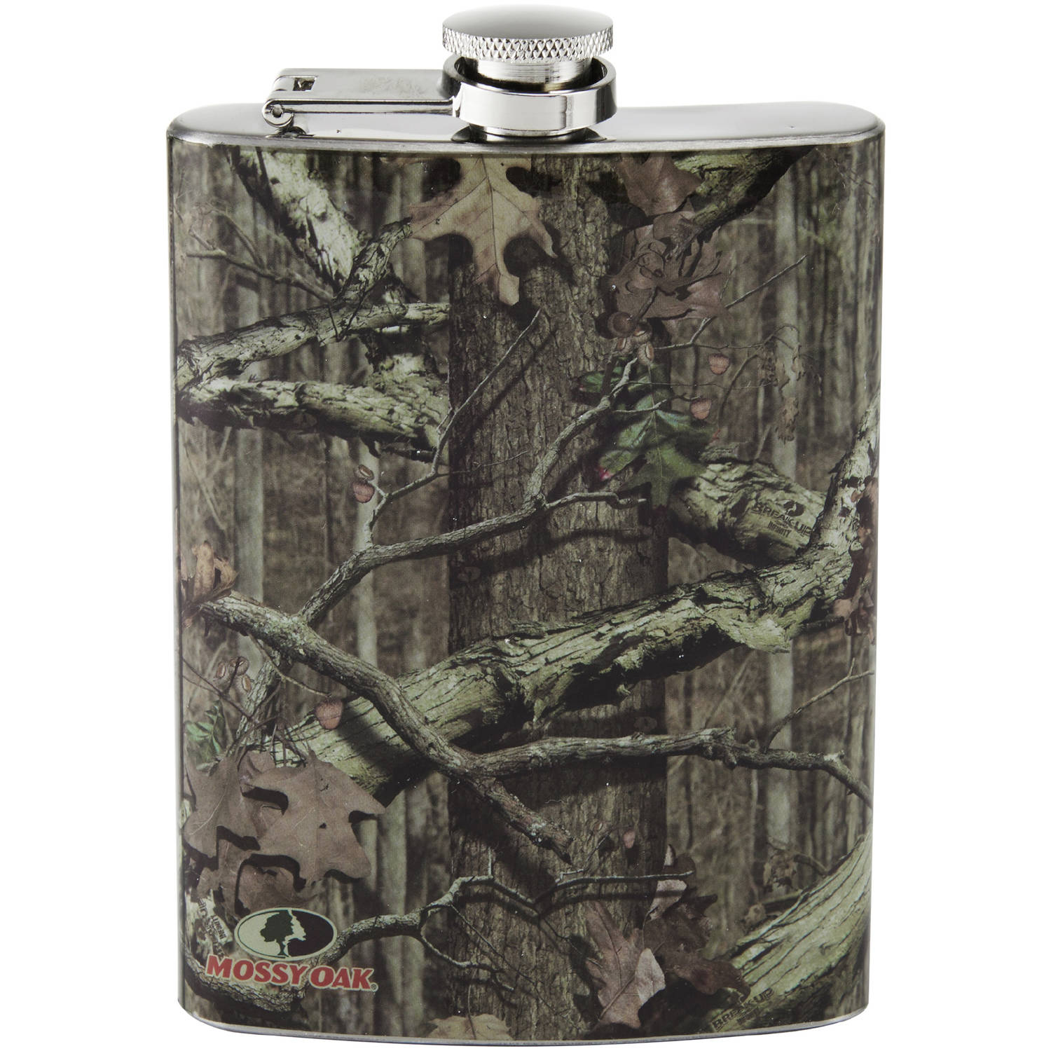 Mossy Oak Brown Stainless-Steel Flask with Screw-Down Cap