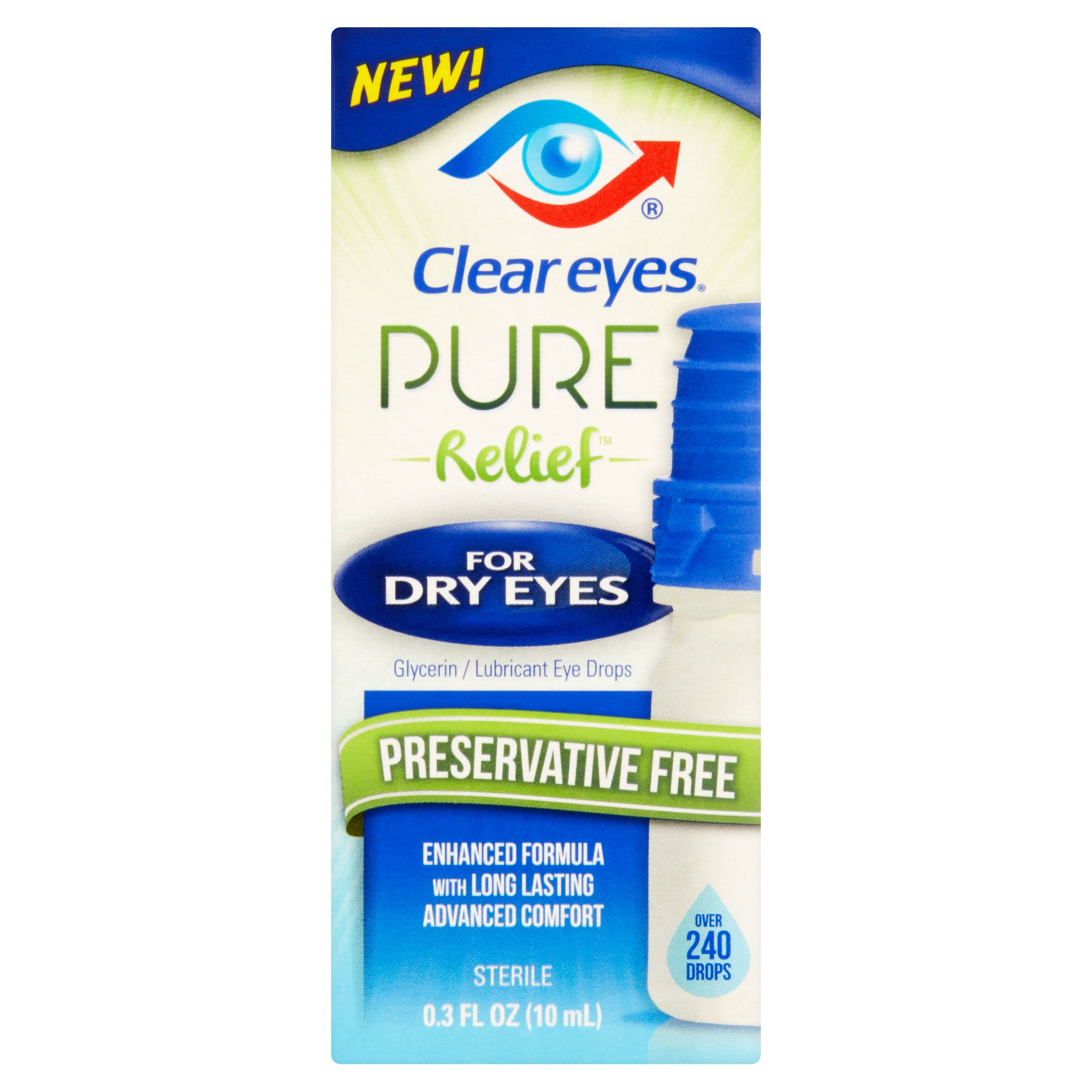 Clear Eyes Pure Relief For Dye Eyes Preserative Free Drops, 0.3 fl oz