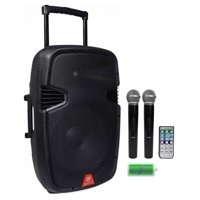 "Rockville RAM15BT 15""Portable Rechargeable 800W DJ PA Speaker, 2 Mics, Bluetooth"