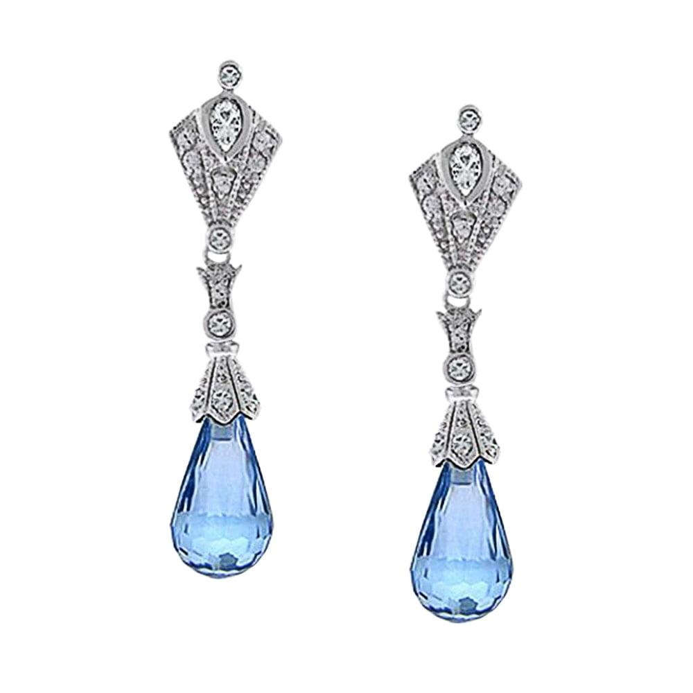 Bling Jewelry CZ Art Deco Style Briolette Drop Earrings Sterling Silver