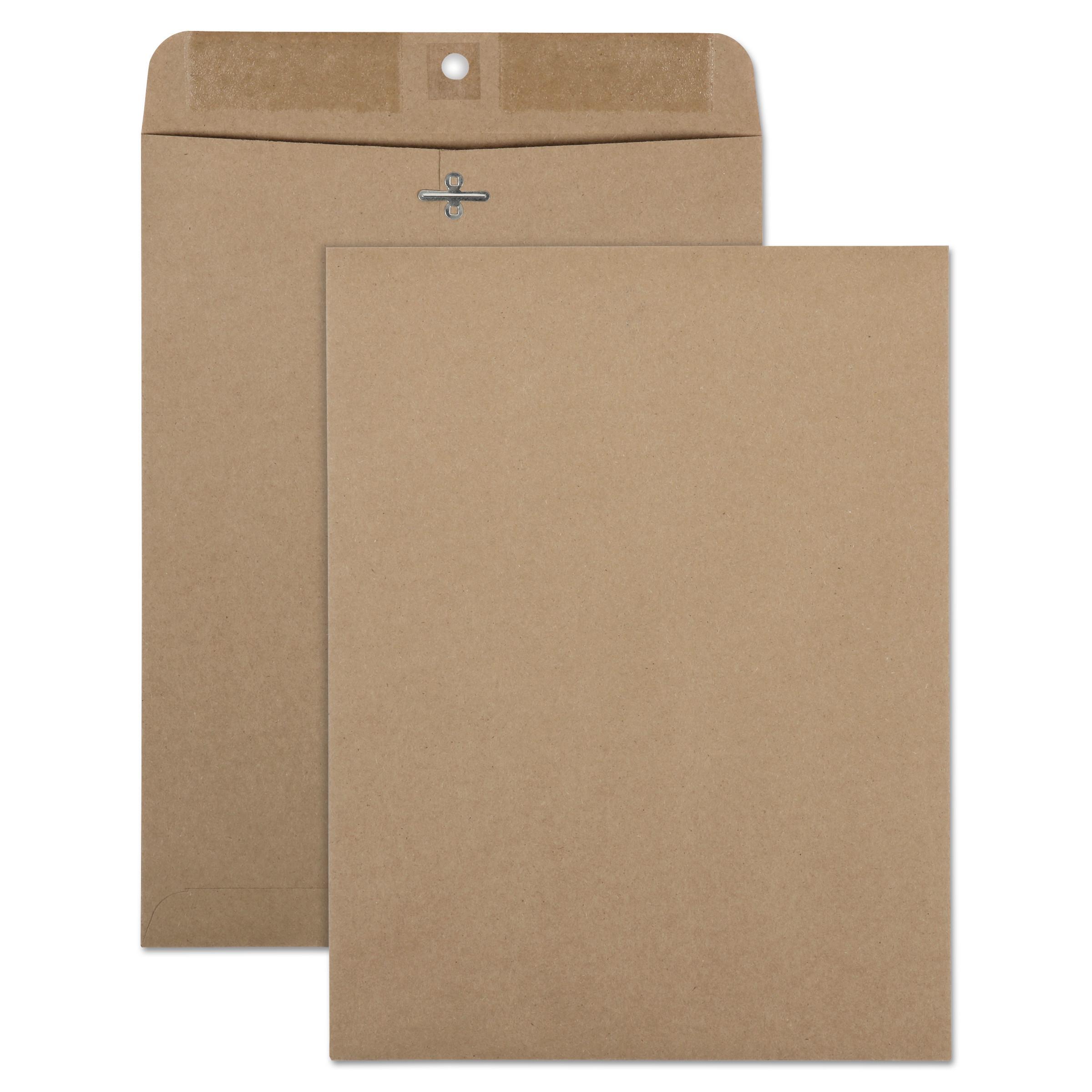 Quality Park 100% Recycled Brown Kraft Clasp Envelope, 9 x 12, Brown Kraft, 100/Box -QUA38711