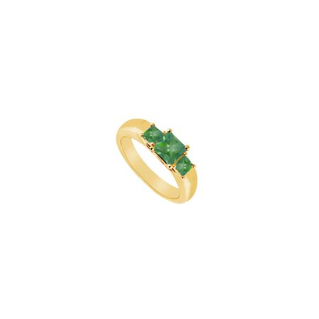 Three Stone Emerald Ring 14K Yellow Gold 0.33 CT TGW - image 2 of 2