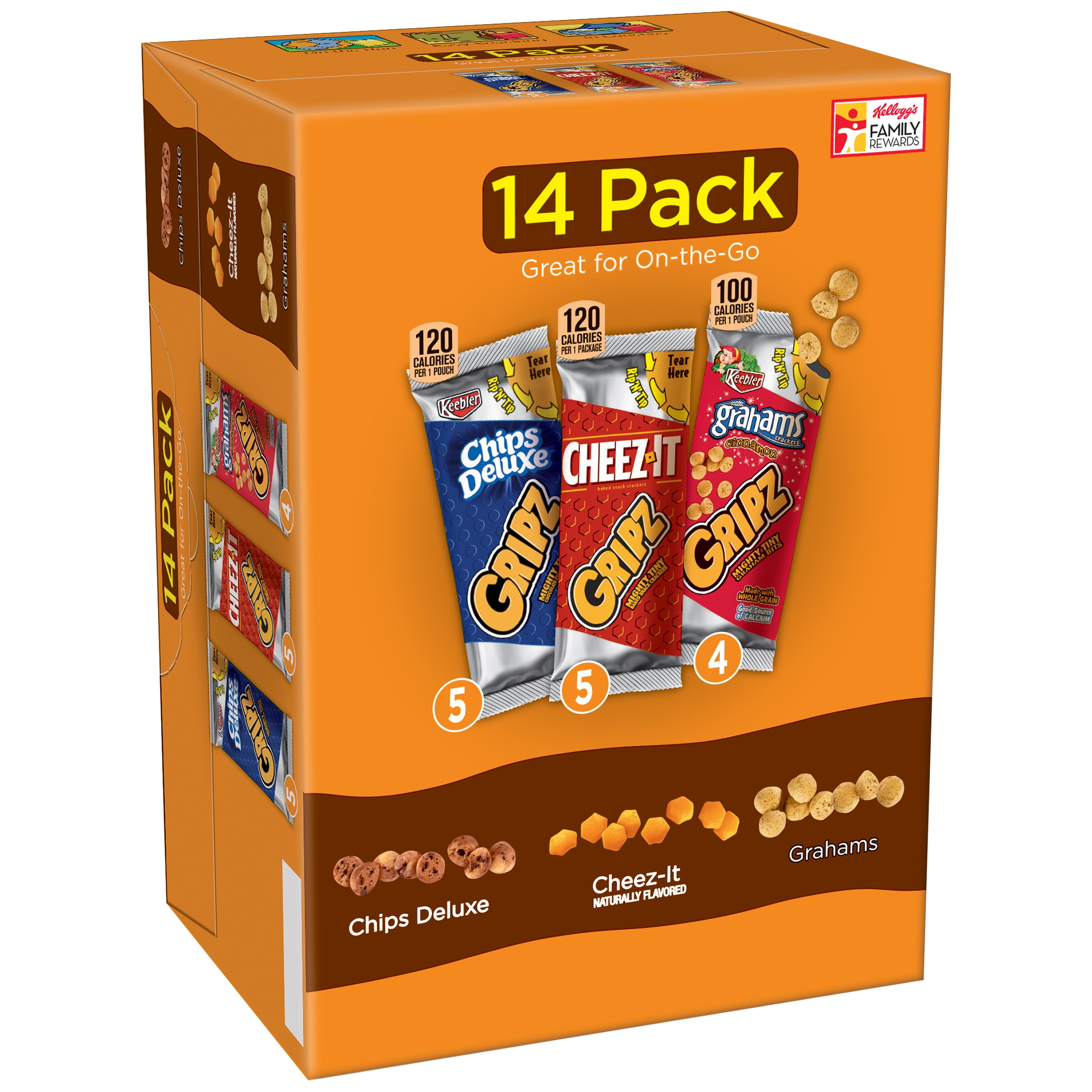 Kellogg's Gripz Chips Deluxe/Cheez-It/Grahams Snack Variety Pack 14-0.9 oz. Bags
