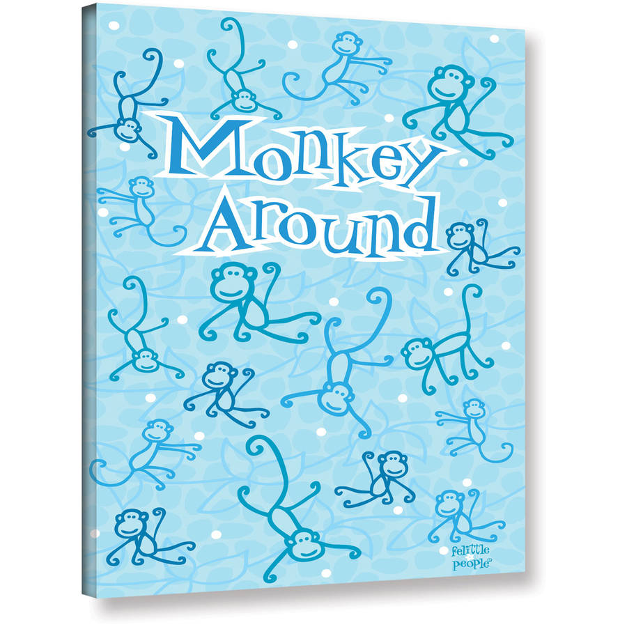"Felittle People ""Monkey Around"" Wrapped Canvas Art"
