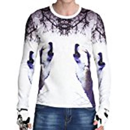 Men`s 3D Digital Wolf Animal Print Crew Neck Long Sleeve T Shirts White (XXL= Tag 4XL, -