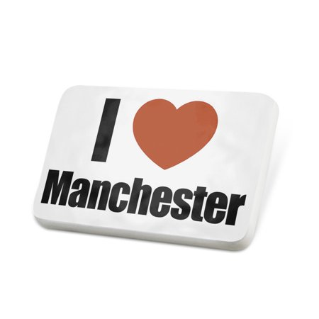 Porcelein Pin I Love Manchester region: North West England, England Lapel Badge – NEONBLOND