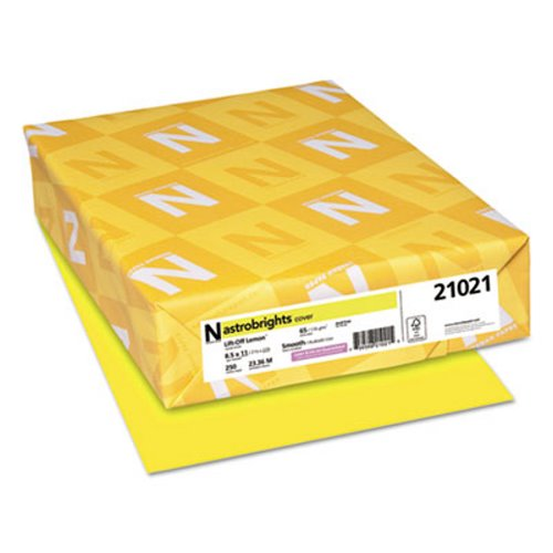 Astrobrights Colored Card Stock, 8-1/2 x 11,Lift-Off Lemon,250 Sheets(WAU21021)
