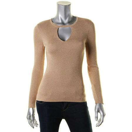 INC Womens Petites Metallic Cutout Pullover Sweater