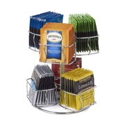 Chrome Finish Tea Bag Caddy Storage and Organizer Rotating Spinning Carousel Organize 60 Tea Bags 6 Compartments 10 Tea Bags in Each.