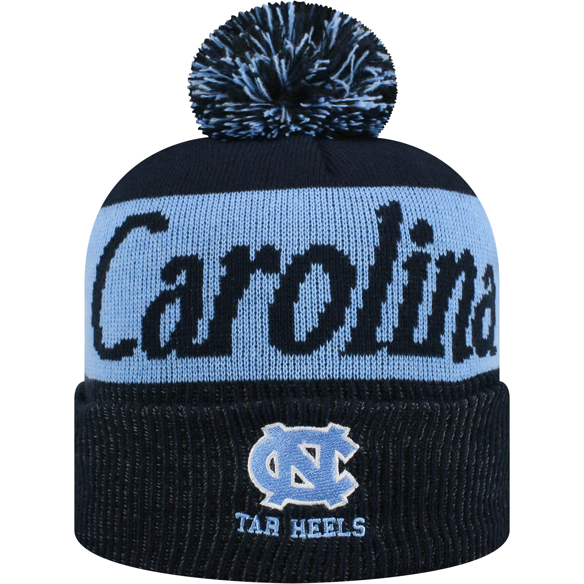 Women's Russell Navy/Carolina Blue North Carolina Tar Heels Frore Cuffed Knit Hat With Pom - OSFA