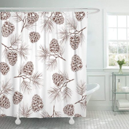PKNMT Pinecone Pine Fir Christmas Tree Cedar Spruce and Cones Shower Curtain 60x72 inches