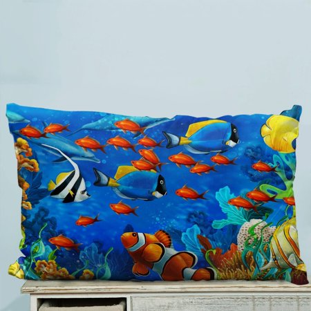 GCKG Underwater World Ocean Animals Fish Coral Pillow Case Pillow Cover Pillow Protector Two Sides 20 x 30 Inches