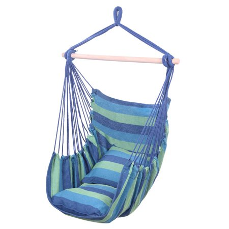Zimtown Canvas Hammock Hanging Rope Chair Patio Porch Yard Tree Hanging Air Swing Outdoor (Blue And - Travel Hammock Tree Sling