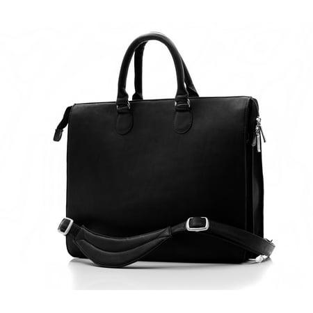 Muiska Leather Monica Double Top Zipper Slim Laptop Business Tote Bag,