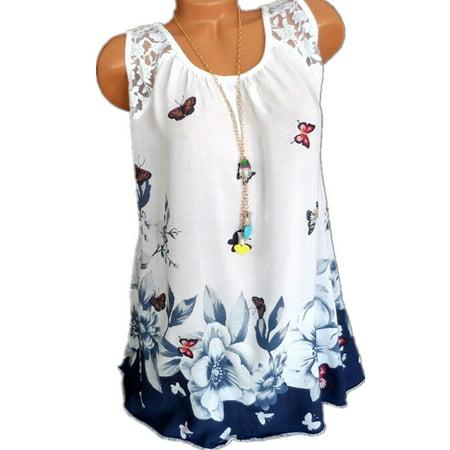 Yellow Mesh Tank Top - Women Printed Causal Tank Tops Sleeveless T-shirts Plus Size
