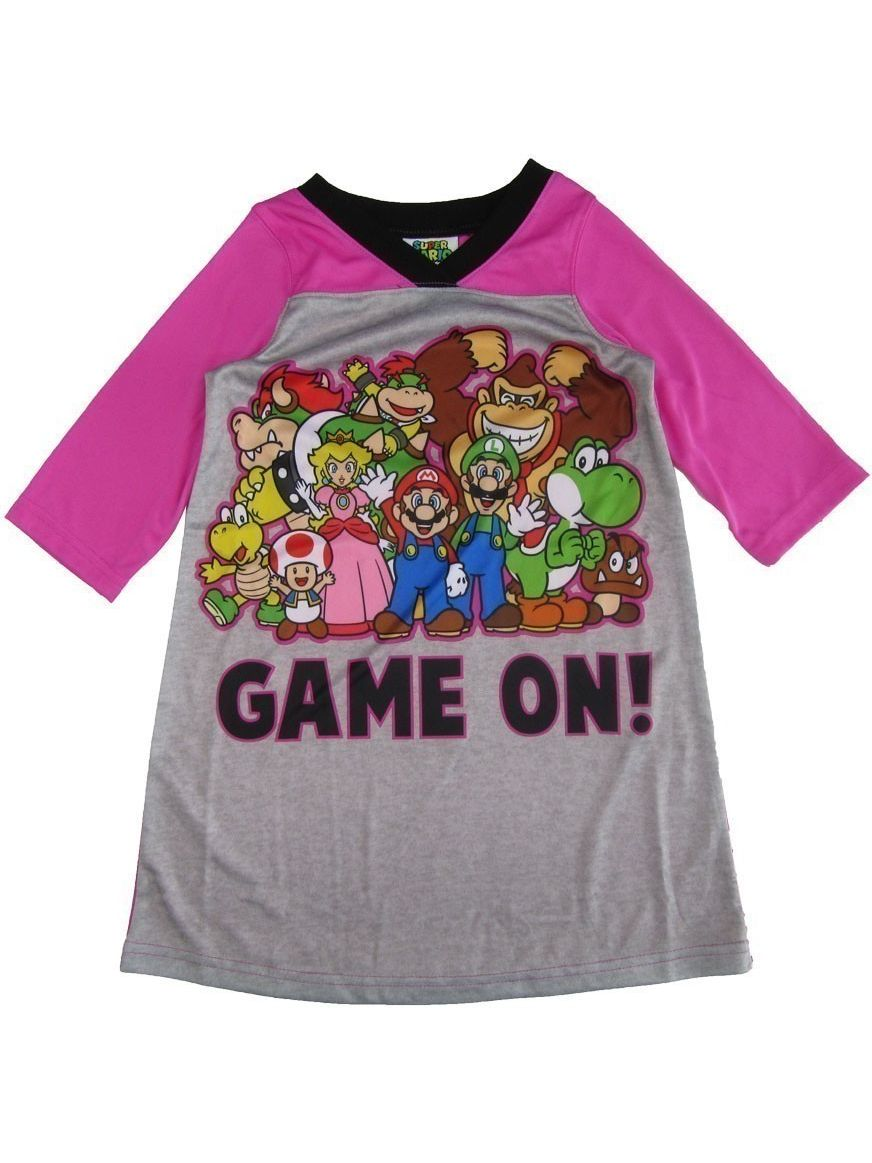 """Super Mario Little Girls Pink Gray """"Game On!"""" Print Long Sleeve Nightgown"""