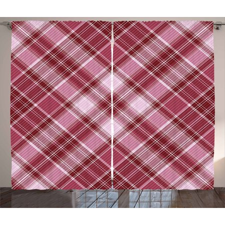 Checkered Curtains 2 Panels Set  Cross Checkered Pattern With Diagonal Strips And Rhombus Shapes  Window Drapes For Living Room Bedroom  108W X 84L Inches  Dried Rose Ruby And White  By Ambesonne