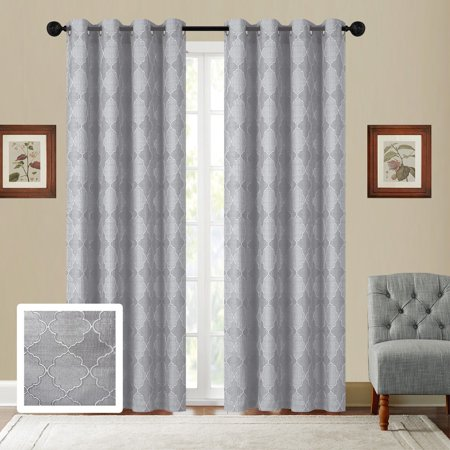 Fancy Linen Embroidery 2 Panel Curtain Set With Grommet Geometric Gray Off White New ()