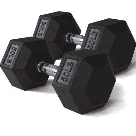 Pair 50 lb Black Rubber Coated Hex Dumbbells Weight Training Set 100 lb Fitness