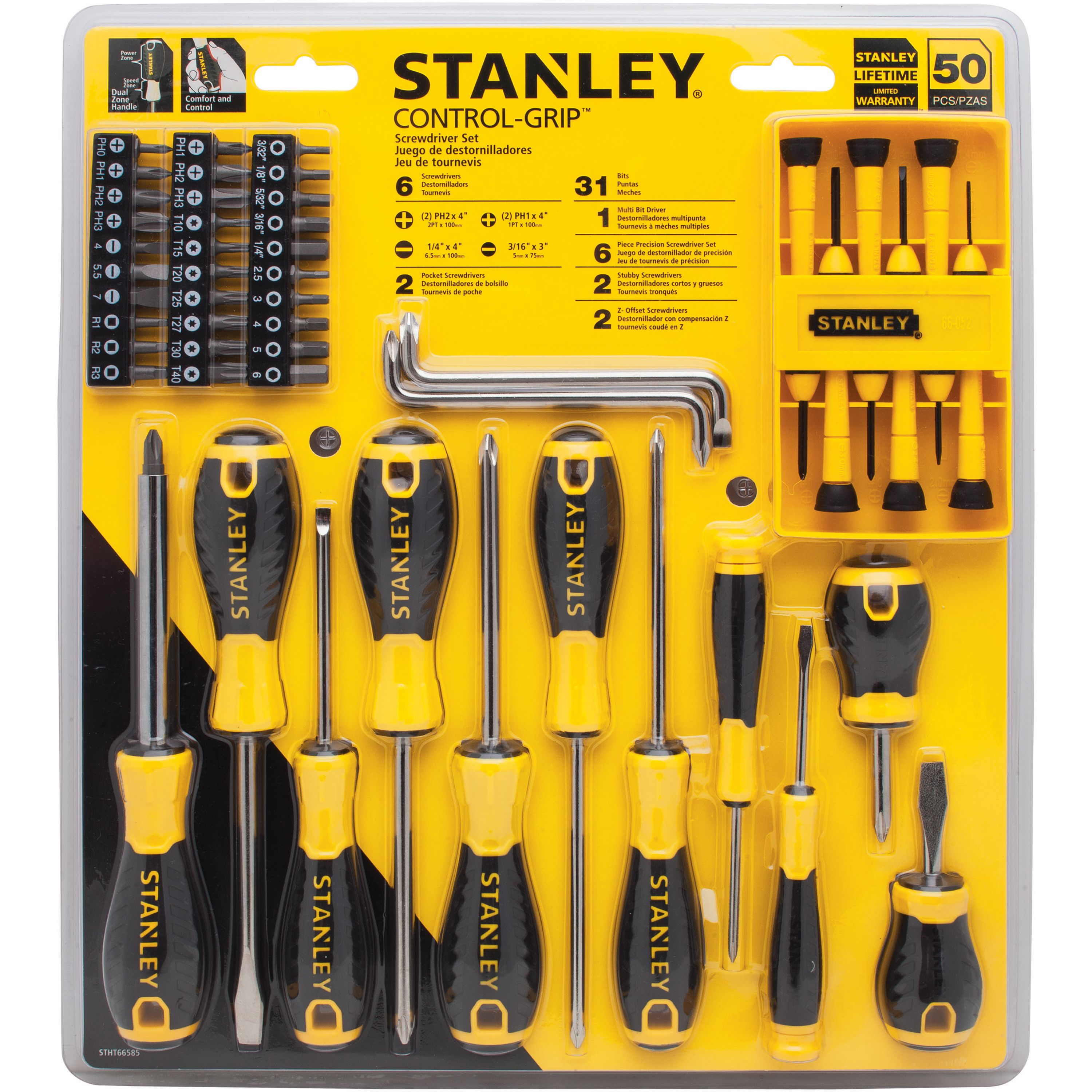 Stanley STHT66585 50pc Control Grip Screwdriver Set