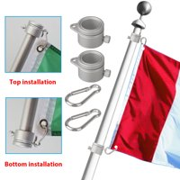2PCS 360 Degree Rotating Aluminum Flag Pole Rings, TSV Anti-Wrap Flagpole Flag Mounting Rings Clip Spinning Flag Pole Kit with Carabiner for 0.75-1.02Inch Diameter Flagpole, Tangle Free (Silver)