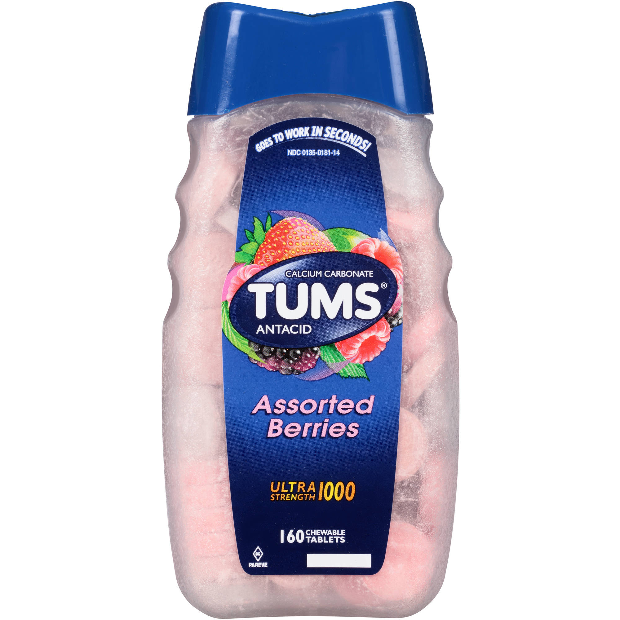 TUMS Antacid Ultra Strength 1000 Assorted Berries Chewable Tablets, 160 Count