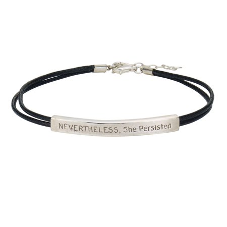 Womens Nevertheless  She Persisted Cord Bracelet   Inspirational Sterling Silver Jewelry