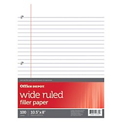 Office Depot® Brand Filler Paper, Wide Ruled, 92 Brightness, 16 Lb, Pack Of 100 Sheets