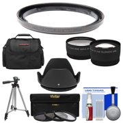 Bower FA-DC58E Conversion Adapter Ring for Canon PowerShot G1 X Mark II Camera + Case + Tripod + Hood + Tele/Wide Lenses + 3 UV/CPL/ND8 Filters + Kit