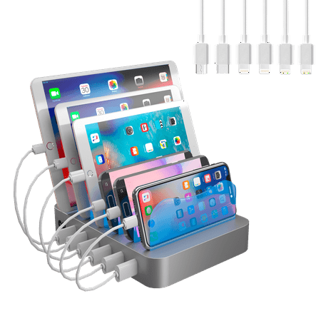 Hercules Tuff Charging Station - 6 Port Universal USB - short cables included - 3 different