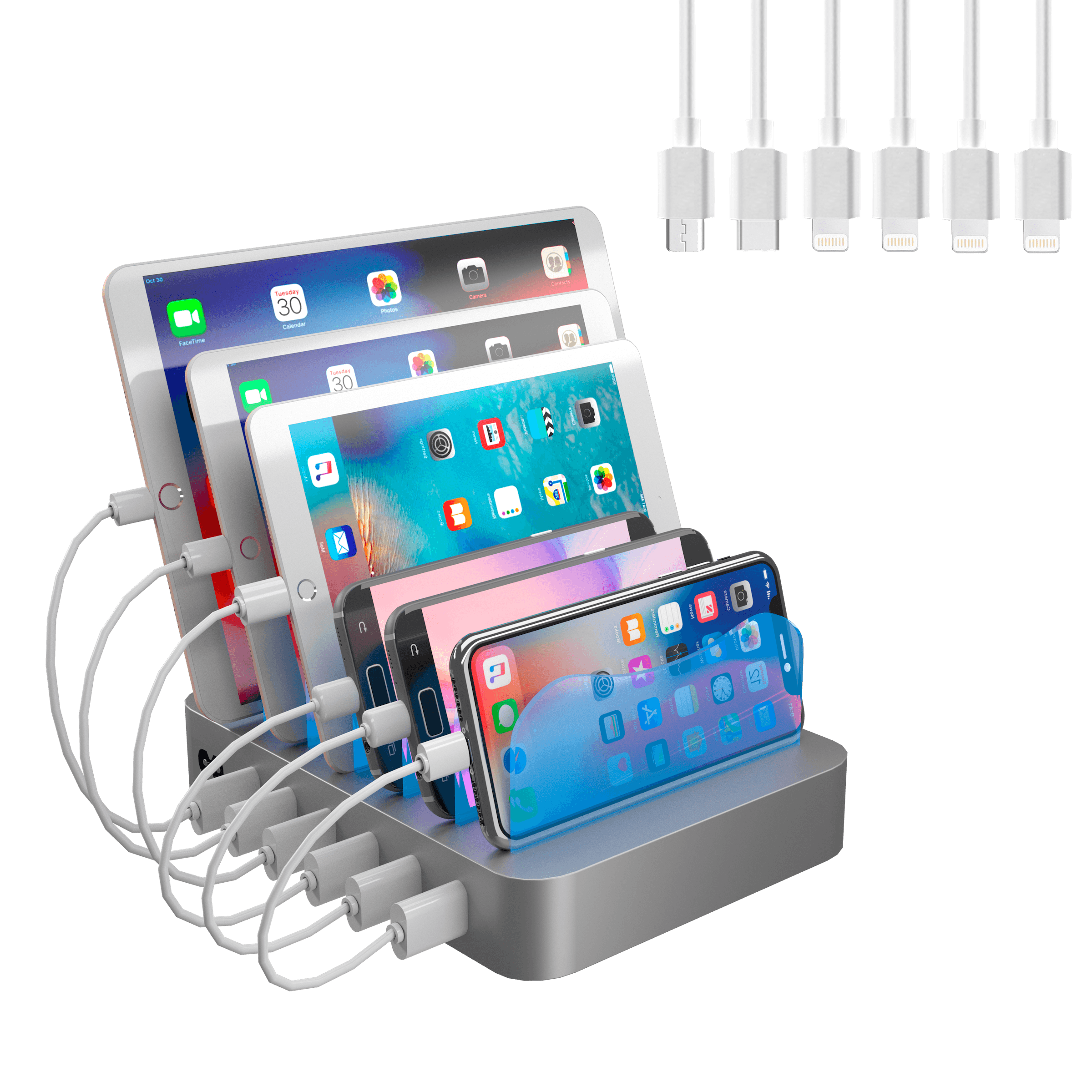 Hercules Tuff Charging Station - 6 Port Universal USB - short cables included - 3 different types