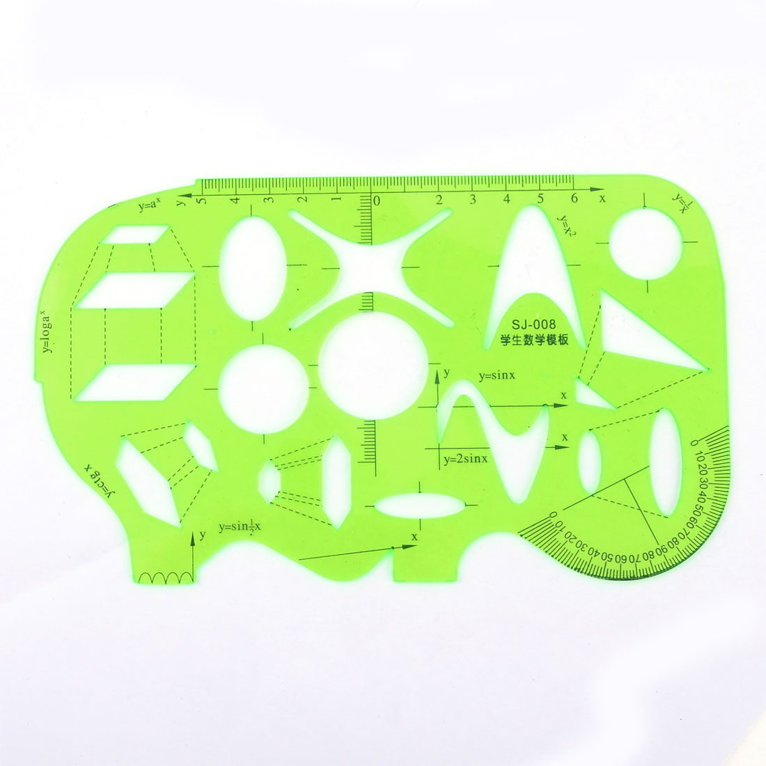 School Students Clear Green Plastic Stationery Measuring Template Ruler