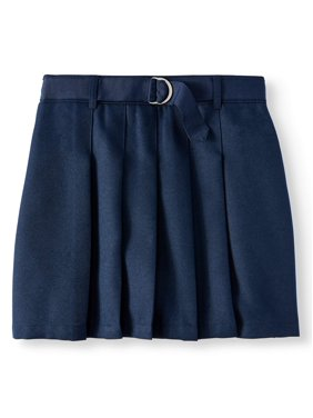 Wonder Nation Girls School Uniform Pleated Belted Scooter Skirt, Sizes 4-16 & Plus