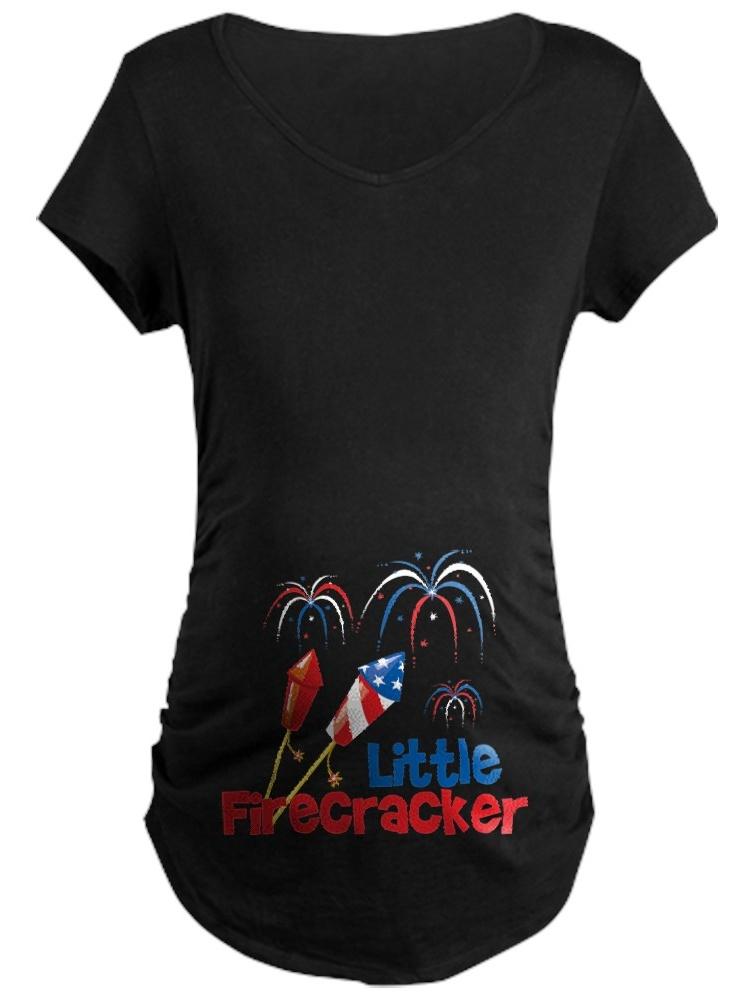 CafePress - 4Th Of July Little Firecracker Maternity Dark T Sh - Maternity Dark T-Shirt