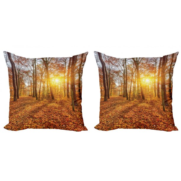 Forest Throw Pillow Cushion Cover Pack Of 2 Foggy Sunset Vibrant Sunbeams Rural Country Woodland In Fall Scenery Image Zippered Double Side Digital Print 4 Sizes Orange Brown Yellow By Ambesonne Walmart Com