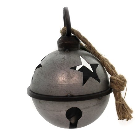 Christmas JINGLE BELL WITH ROPE SILVER SM Metal Galvanized Star Cha419 ()