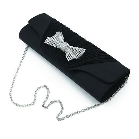 Elegant Pleated Satin Flap Rhinestones Bow Clutch Evening Bag