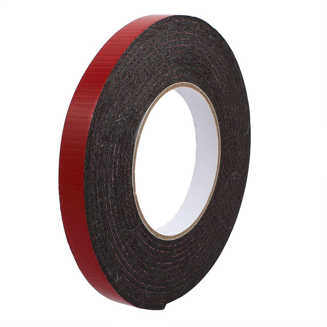 5M 15mm x 3mm Dual-side Adhesive Shockproof Sponge Foam Tape Red Black