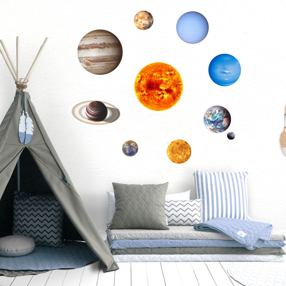 Solar System Wall Stickers Birthday Christmas Gifts for Baby Boys Girls Kids Bedroom Glow in The Dark Planets Space Stars