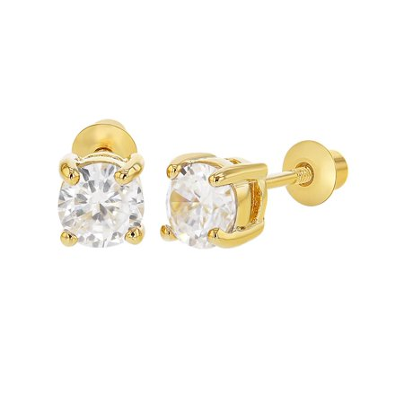 18k Gold Plated April Prong Set Clear Crystal Screw Back Girls Earrings ()