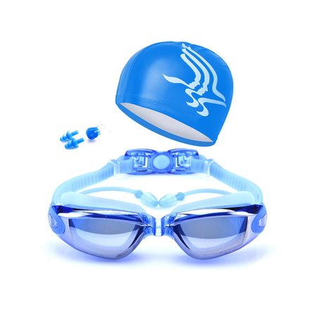Anyprize Swimming Gogglesfor Adults, Swim Goggels with Nose Clip, Ear Plugs, Protection Case, Waterproof Anti-Fog Swim Goggles for Women/Men (A065BU, (Water Goggles With Nose Piece)