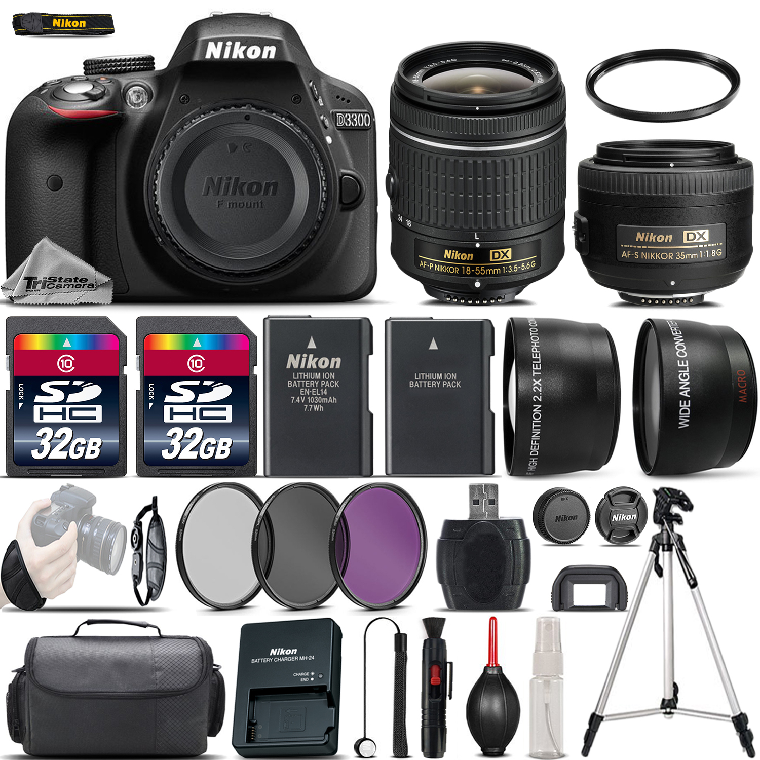 Nikon D3300 Digital SLR Camera + 18-55mm VR + 35mm 1.8G Lens + 64GB - 4 Lens Kit