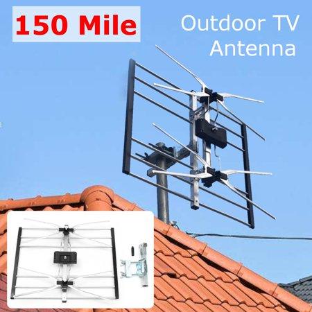 150 Mile Range Outdoor Digital Tv Antenna Amplified Roof
