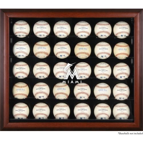 Miami Marlins Fanatics Authentic Logo Mahogany Framed 30-Ball Display Case - No Size