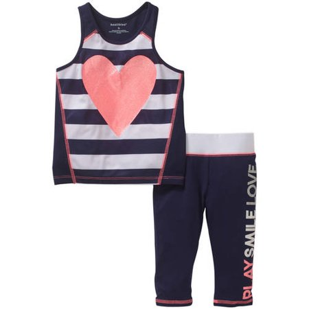 Healthtex Toddler Girl Striped Tank Top with Legging Activewear Set