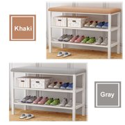2 Tier Shoe Rack/Shoe Bench / Storage Racks With Metal Frame and Fabric Floral Design Seat Cushion(Gray,Khaki )